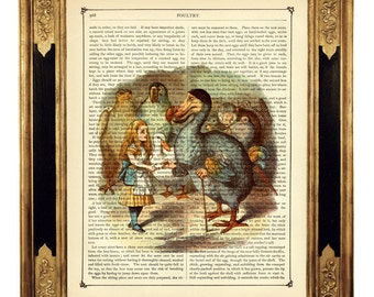 Alice in Wonderland Image Dodo Bird Poster color - Vintage Victorian Book Page Art Print Steampunk