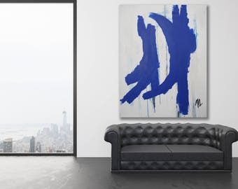 Texture Painting / Bold Abstract Art / Cobalt Blue Painting / Original Art / Blue Abstract Painting / Extra Large Art