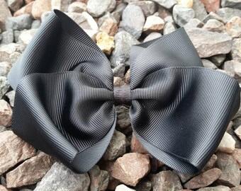 Black Solid Black Hair Bow - Large black hair bow - Big black hair bow - Black Hair Bow. Solid Black Bow. Girls Solid Color Hair Bow.