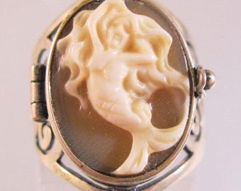 Mermaid Cameo Poison Locket Ring Sterling Silver Signed Size 6 Vintage Style