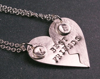 Sterling silver Best Friends heart pendant with initials