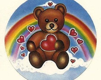 Vintage 80's Sky Ent. Rainbow Heart Teddy Bear Sticker