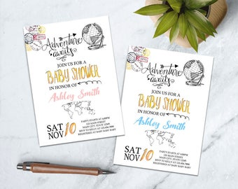 Adventure Baby Shower Invitation, Travel Baby Shower Invitation, Adventure Awaits Baby Shower Invitation, World Baby Shower Invitation