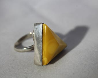 Yellow Pyramid Sterling Silver Size 7 Ring