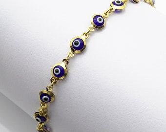 "14k Yellow Gold Good Luck Evil Eye Cable Charm Bracelet 7.5"""