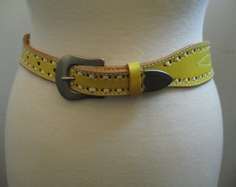 Vintage Yellow Leather Western Belt, Cowgirl Belt, Cowgirl Chic, White Stitching and Silver Buckle