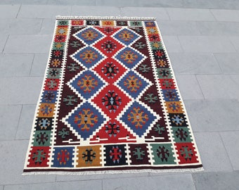 "Kilim Rug Turkish Kilim Rug Area Rug Vintage Turkish Rug Handmade Wool Rug Anatolian Kilim Rug 4' x 6' Feet 48"" x 72"" Inches Free Shipping !"