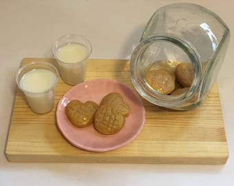 """Heart peanut butter cookies and milk on plate. For 18"""" dolls. Made from polymer clay and resin. So cute!"""