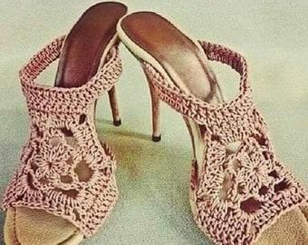 Fine -  heeled  Crochet Sandal    . Crochet Sandal .  Chic Sandal