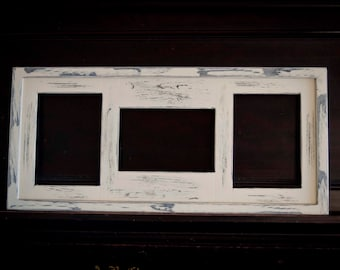 Collage Picture Frame - MULTI 3 Opening 5x7 distressed collage picture frame with 2) 5x7's in portrait & 1) 5x7 in landscape...almond