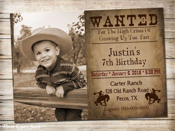 Wanted Invitation Cowboy Birthday Invitation Western Printable