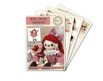 Alison rag doll pattern - cloth doll pattern - Doll pdf  Tutorial - PDF doll Pattern - rag doll Sewing Pattern - Sewing diy