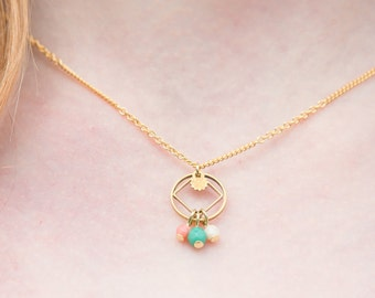 Dainty necklace, pastel necklae, small geometric necklace mint and pink, tiny necklace with cercle and rhombus, cercle necklace