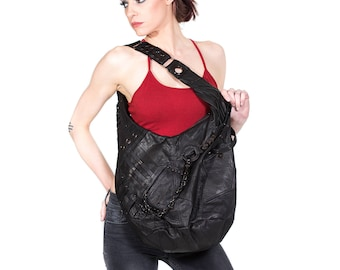NINJA ASSASSIN Big Black Leather Hobo Bag