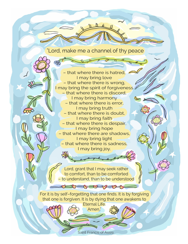 St Francis Prayer for Peace/Inspirational Art/Home Decor/8x10