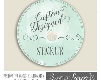 Wedding favor sticker  MADE TO ORDER custom design service you choose fonts, colors, and style