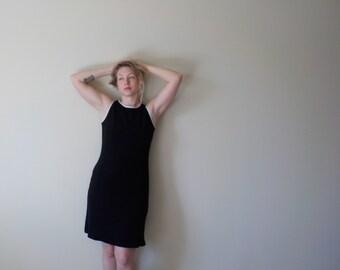 TANK JERSEY DRESS Black Shift Sport Dress/ White Trim/ Textured/ Petite/Athletic/ 90s/ Free Shipping