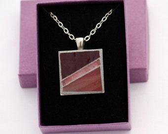 Pink, Rose & Burgundy Mosaic Pendant Silver-Finish Necklace