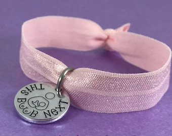 Breastfeeding bracelet, this boob next, nursing jewellery, breastfeeding reminder bracelet, this side next, elasticated nursing bracelet