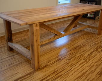 Reclaimed Oak Wood Truss Beam Style Dining Table with 4 inch Square Legs, Custom, Breadboard Ends