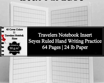 Travelers Notebook Insert Seyes Hand Writing Practice French Hand Writing Practice Cursive Practice Paper Hand Lettering Practice