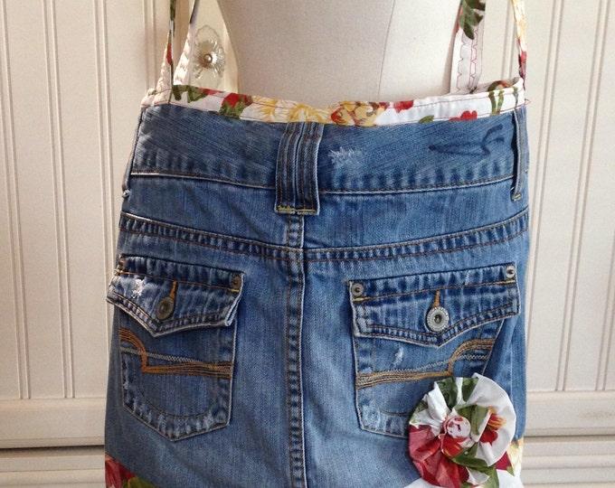"Denim purse, denim market bag, repurposed denim, 16/18"", 14"" drop strap, lining red flowers on cream, zip inside pocket, magnetic snap close"