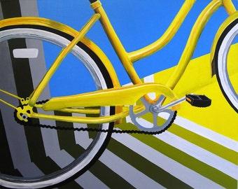 """En la zona - pintura de acrílico Original (30 """"x 24"""") - BikeLoversAlley, por O. de Mattie"""
