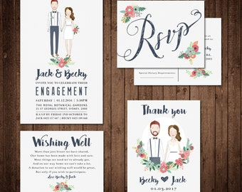 Custom Illustration Engagement / Wedding Invitation Set with RSVP, Thank you card and Wishing Well