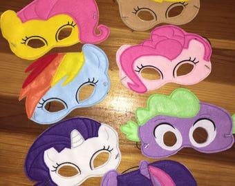 My Little Pony Felt  Face Masks Machine Embroidery