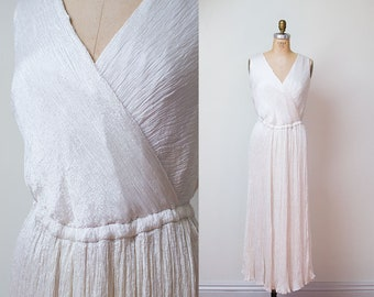 1980s Grecian Dress / 80s Fortuny Pleated White Sundress