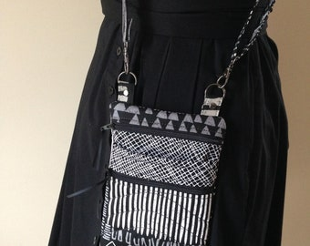 Black White Gray Tribal Print  Crossbody Hipster Bag Purse Travel Accessory