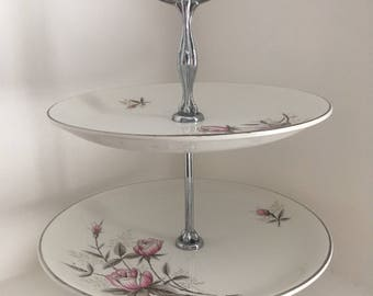 Vintage Barrats Delphatic Ware Two Tiered Cake Stand