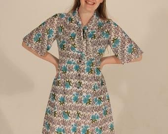 60s Dress Vintage Dress Small Dress Medium Dress Ascot Tie Dress White Dress Blue Dress Floral Dress