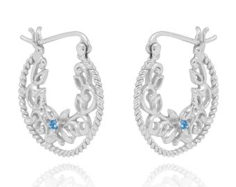 Swiss Blue Topaz Sterling Silver Lever Back Earrings
