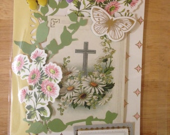 Handmade Sympathy Card, 3D, Floral, Cross Scene, Greenery, Butterflies, Sentiment