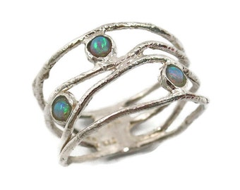 Opal ring . silver opal ring . silver Wave ring . Opal jewelry . Silver ring . Wide silver ring . Opal silver ring. Wide opal ring
