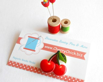 Cherries Needle Minder - Needle Minder - Needle Magnet - Needle Keeper -  Gift for Quilter - Embroidery - Cross Stitch - Cherry Magnet