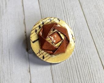 Musical Copper Camellia Origami Pin Brooch
