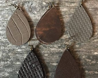 Leather Brown Textured Teardrop Earring