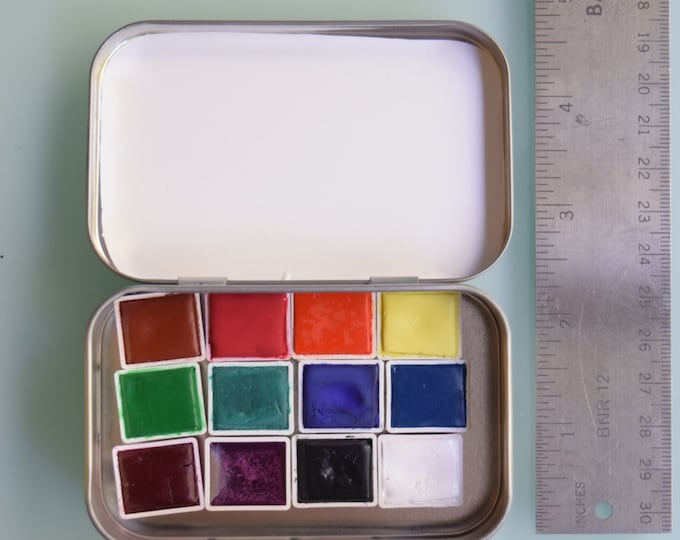 Watercolor handmade travel paint palette tin- 12 half pans of your choice travel tin kit - Comes with free waterbrush and tin