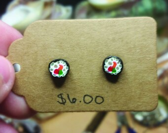 Polymer Clay Sushi Earrings, Handmade Miniature Food Jewelry