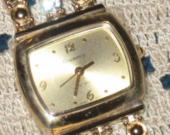 Vintage Gramercy Watch, Gold Tone, Rhinestone Accents, CLEARANCE