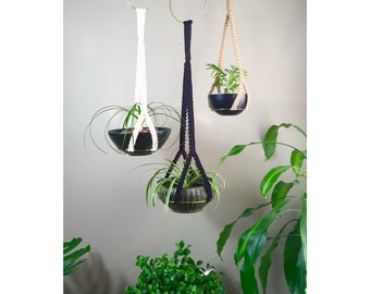 ATHENA Macramé Plant Hangers// MODERN Design Hoop White Black Jute Small Medium Large Mix and Match Jungalow Plants Hangers Brass Rings