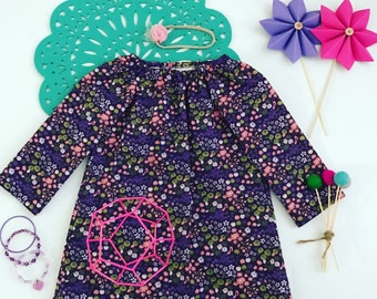 3- Girls Long Sleeved Dress- Purple Floral