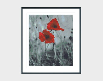Cross stitch pattern, modern cross stitch pattern, red poppies, flower cross stitch pattern, instant download