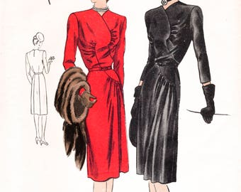 1940s 40s dress pattern seam interest ruching bust 32 vintage sewing reproduction