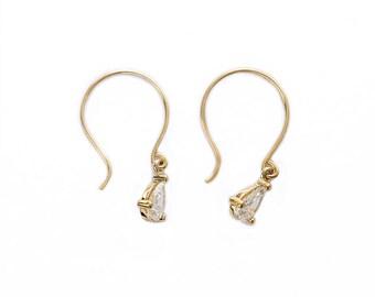 Pear Cut Diamond,Pear Cut Jewelry,Anniversary Gift,Earrings For Wife,Dainty Hook Earrings,Conflict Free Diamonds,Dainty Gold Dangly Earrings