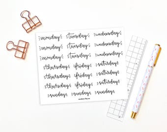 Weekday planner stickers - 21 days of the week planner stickers, journal stickers, weekday stickers, handwritten bullet journal stickers