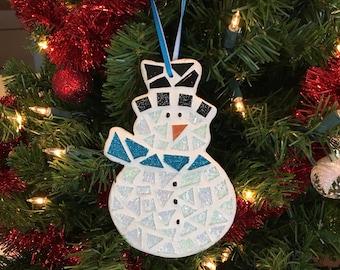 Stained Glass Mosaic Snowman, Snowman Ornament, Christmas Ornament, Mosaic Ornament, Christmas Gift, Hostess Gift, Snowman Decor