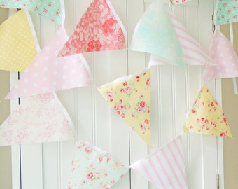 Shabby Chic Fabric Banner, Bunting, Pennant Flags, Pink, Blue, Aqua, Yellow, Wedding Decor, Photo Prop, Baby Nursery Decor, Birthday Party